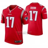 Camiseta NFL Legend New England Patriots 17 Antonio Brown Inverted Rojo
