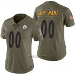Camiseta NFL Limited Mujer Pittsburgh Steelers Personalizada 2017 Salute To Service Verde