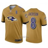 Camiseta NFL Limited Baltimore Ravens Jackson Big Logo Number Amarillo