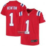 Camiseta NFL Game Nino New England Patriots Cam Newton Rojo