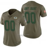 Camiseta NFL Limited Mujer Green Bay Packers Personalizada 2017 Salute To Service Verde