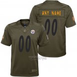 Camiseta NFL Limited Nino Pittsburgh Steelers Personalizada Salute To Service Verde