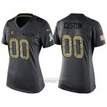 Camiseta NFL Limited Mujer Pittsburgh Steelers Personalizada 2016 Salute To Service Negro