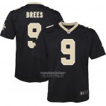 Camiseta NFL Game Nino New Orleans Saints Drew Brees Negro
