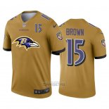 Camiseta NFL Limited Baltimore Ravens Brown Big Logo Number Amarillo