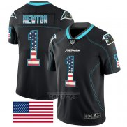 Camiseta NFL Limited Carolina Panthers Newton Rush USA Flag Negro